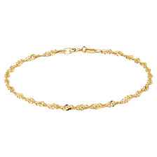 "19cm (7.5"") Singapore Bracelet in 10ct Yellow Gold"