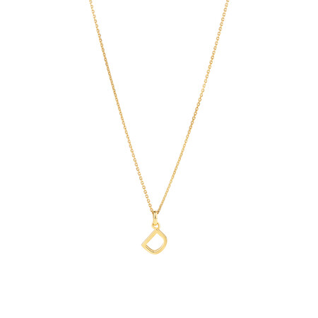 """""""D"""" Initial Pendant with Chain in 10ct Yellow Gold"""