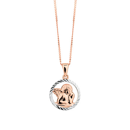 Cherub Pendant in 10ct Rose & White Gold