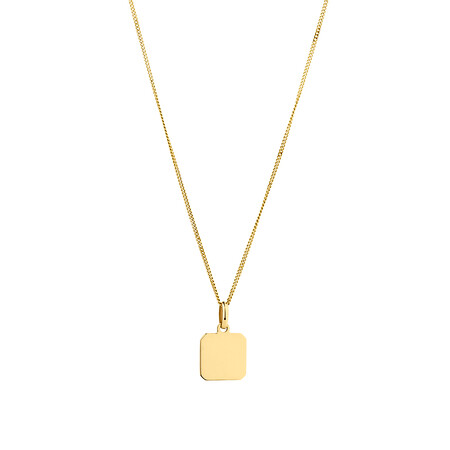 Square Disc Pendant in 10ct Yellow Gold
