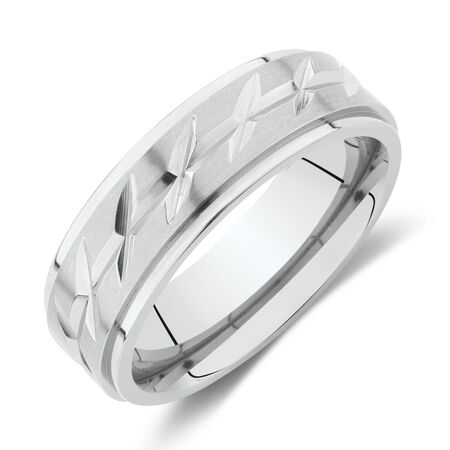 Patterned Ring in Titanium