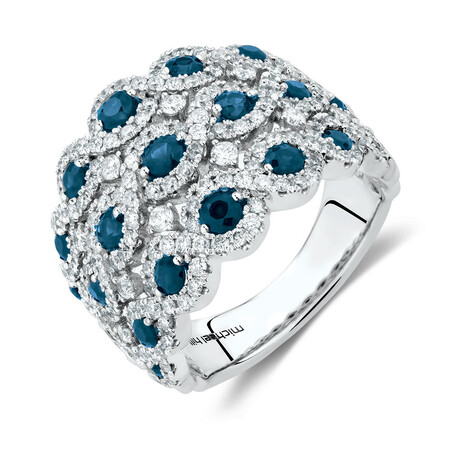 Ring with Sapphire & 1 1/4 Carat TW of Diamonds in 14ct White Gold