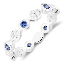 White & Blue Cubic Zirconia Stack Ring