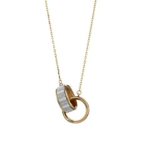 Online Exclusive - Double Glitter Circle Pendants in 10ct Yellow Gold