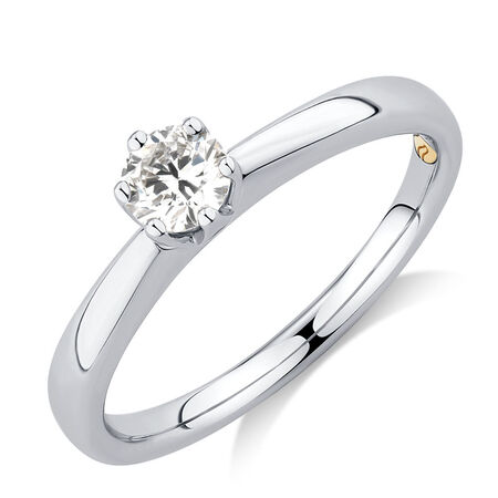 Whitefire Solitaire Engagement Ring with a 0.3 Carat TW Diamond in 18ct White & 22ct Yellow Gold