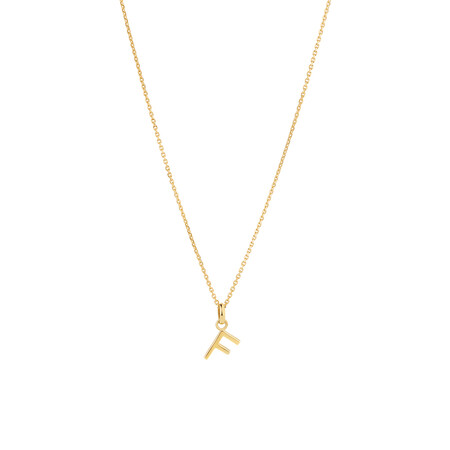 """""""F"""" Initial Pendant with Chain in 10ct Yellow Gold"""