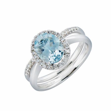 Bridal Set with Aquamarine & 0.31 Carat TW of Diamonds in 14ct White Gold
