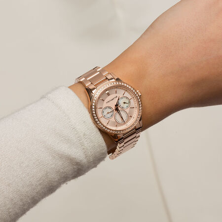 Ladies Chronograph Watch with Cubic Zirconias in Rose Tone Stainless Steel
