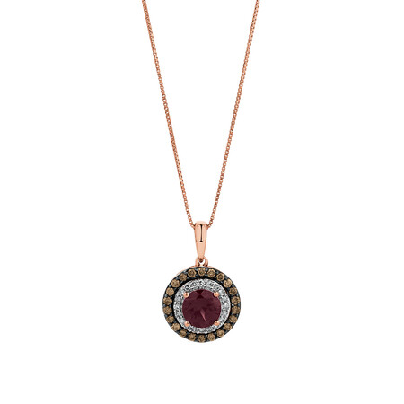 Pendant with 0.34 Carat TW of White & Brown Diamonds & Rhodolite Garnet in 14ct Rose Gold