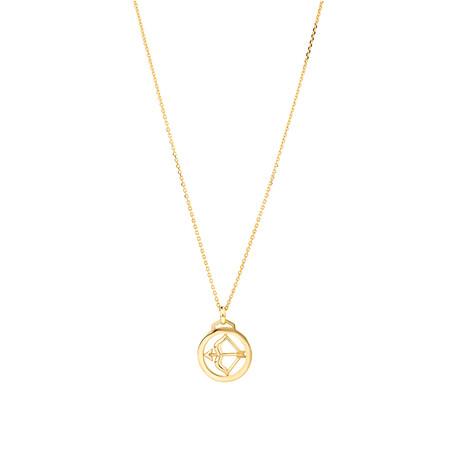 Sagittarius Zodiac Pendant with Chain in 10ct Yellow Gold
