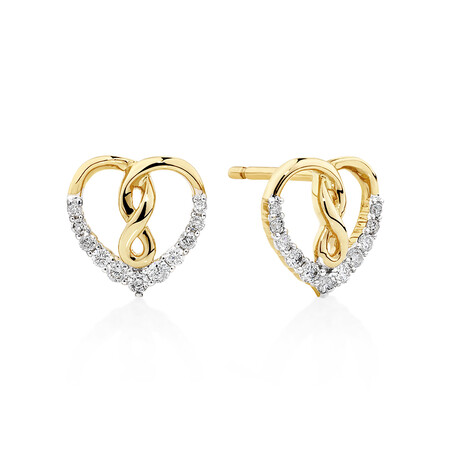 Heart Infinity Earrings With 0.20 Carat TW Of Diamonds In 10ct Yellow Gold