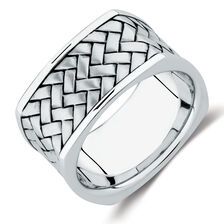 11mm Men's Patterned Ring In Sterling Silver