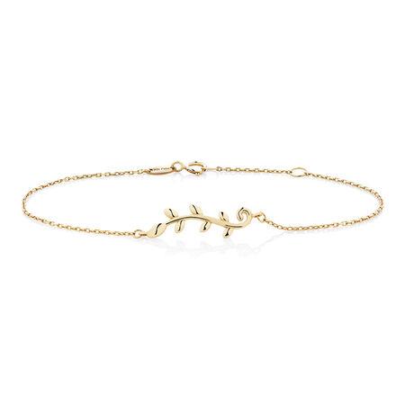 "19cm (7.5"") Olive Leaf Bracelet in 10ct Yellow Gold"