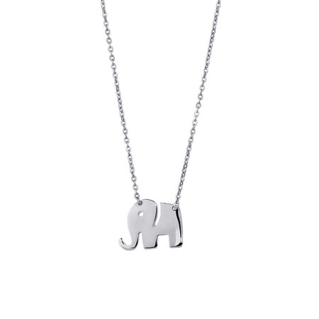 Mini Elephant Necklace in 10ct White Gold