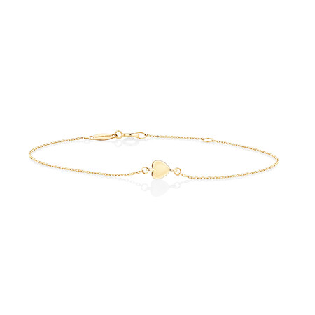 Minimal Heart Bracelet In 10ct Yellow Gold