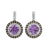 Halo Stud Earrings with 0.50 Carat TW of Diamonds & Amethyst in 14ct Yellow & White Gold
