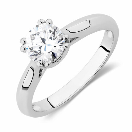 Solitaire Ring with a Cubic Zirconia in Sterling Silver