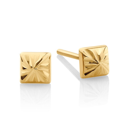 Pyramid Stud Earrings in 10ct Yellow Gold