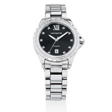 Ladies Watch with Diamonds in Grey Ceramic & Stainless Steel