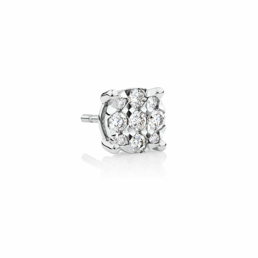 Men's Stud Earring with 0.12 Carat TW of Diamonds in 10ct White Gold