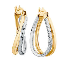 Huggie Earrings in 10ct Yellow & White Gold