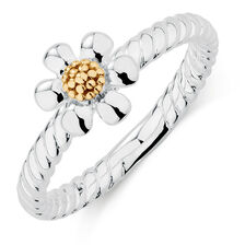 10y/Sil Large Daisy Stack Ring