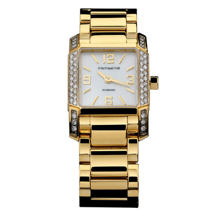 Ladies Watch with 1/2 Carat TW of Diamonds & Mother of Pearl in Gold Tone Stainless Steel