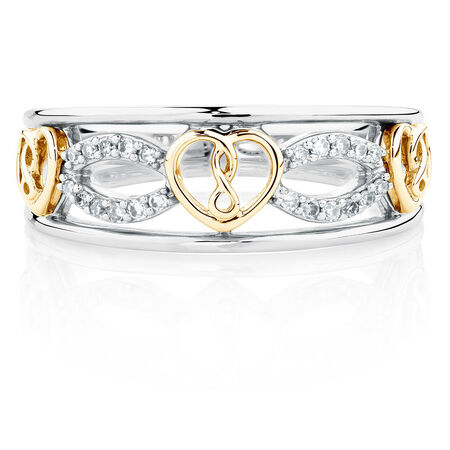 Infinitas Ring with Diamonds in Sterling Silver & 10ct Yellow Gold