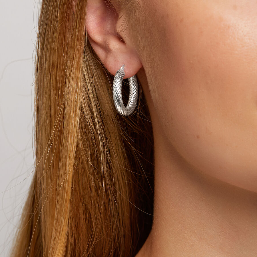 15mm Twist Hoop Earrings in Sterling Silver