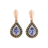 Pear Stud Earrings with 0.50 Carat TW of White & Brown Diamonds & Tanzanite in 14ct Rose Gold