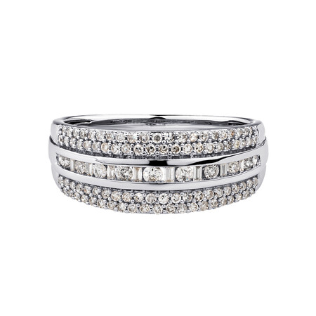 Multi Row Ring with 0.50 Carat TW of Diamonds in 10ct White Gold