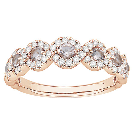 Ring with Morganite & 0.37 Carat TW of Diamonds in 14ct Rose Gold