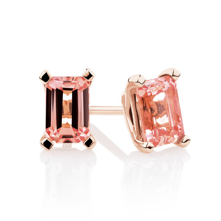 Stud Earrings with Created Peach Sapphire in 10ct Rose Gold