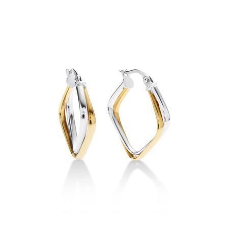 Geometric Hoop Earrings in 10ct Yellow & White Gold
