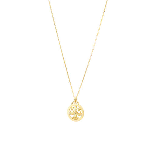 Libra Zodiac Pendant with Chain in 10ct Yellow Gold