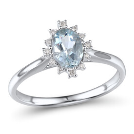 Ring with Aquamarine & Diamond in 10ct White Gold