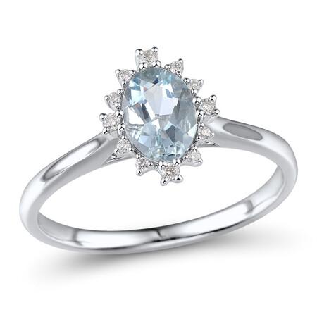 Ring with Aquamarine & Diamond in 10ct White Gold