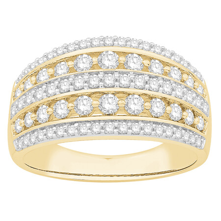 Five Row Ring with 1.00 Carat TW of Diamonds in 10ct Yellow Gold