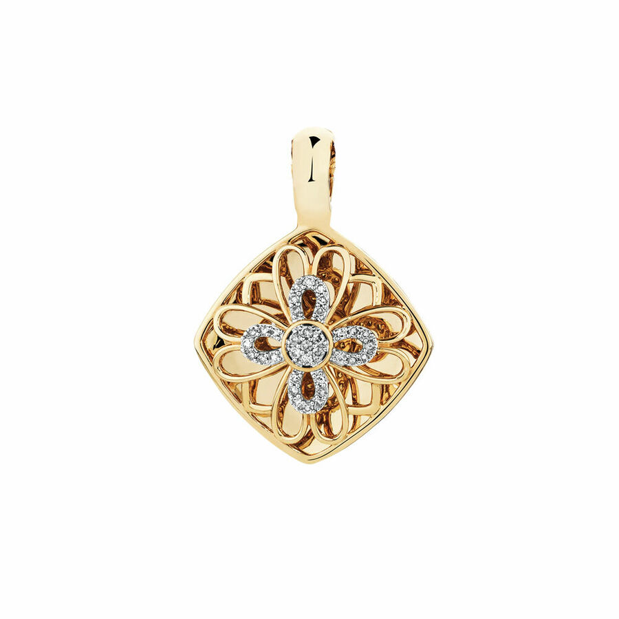 Enhancer Pendant with 1/4 Carat TW of Diamonds in 10ct Yellow Gold