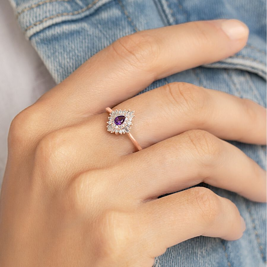 Ballerina Ring with Amethyst & 0.25 Carat TW of Diamonds in 10ct Rose Gold