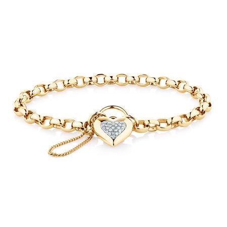 "19cm (7.5"") Belcher Bracelet with Diamonds in 10ct Yellow Gold"
