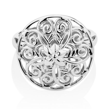 Filigree Flower Ring in Sterling Silver