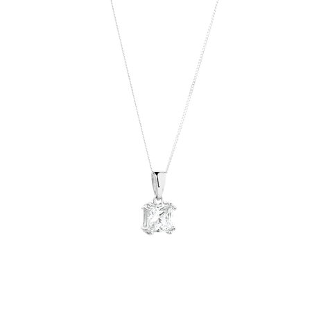 Square Pendant with Cubic Zirconia in Sterling Silver