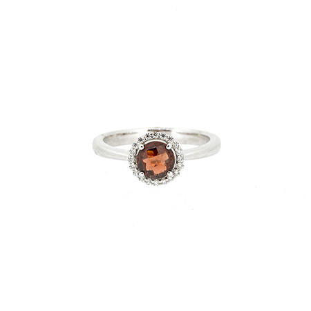 Halo Ring with Created Garnet and Cubic Zirconia in Sterling Silver
