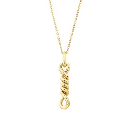 Double Vertical Loop Pendant In 10Ct Yelow Gold