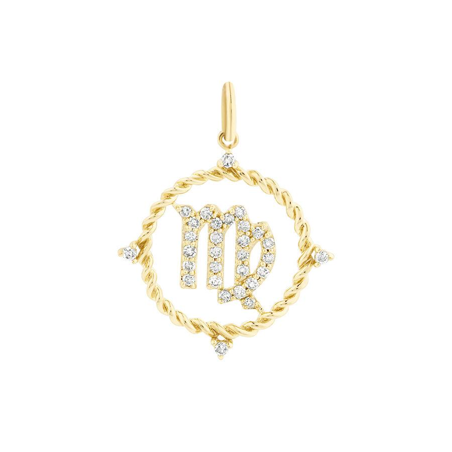 Virgo Zodiac Pendant with 0.20 Carat TW of Diamonds in 10ct Yellow Gold