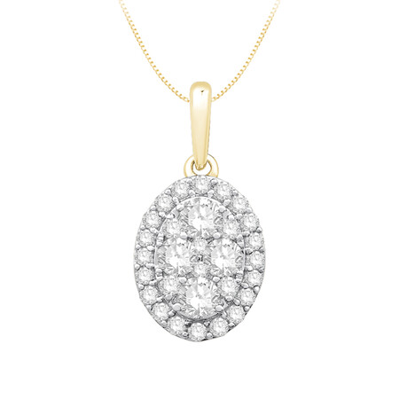 Oval Pendant with 0.40 Carat TW of Diamonds in 10ct Yellow Gold