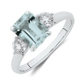 Ring with Aquamarine & 0.40 Carat TW of Diamonds in 10ct White Gold