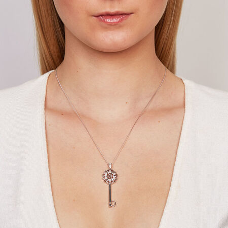 Key Pendant with Diamonds in Sterling Silver