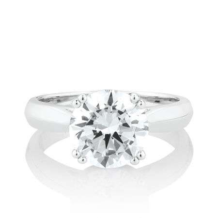 Solitaire Ring with Cubic Zirconia in Sterling Silver